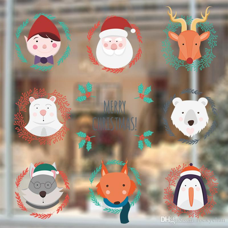 Diy santas elk window stickers removable wall stickers for shop door art decals waterproof cheap wall sticker cheap wall stickers from rockychan