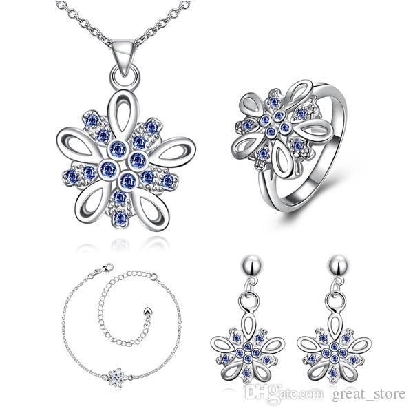 Fashion Dimensional flower 925 silver necklace bracelet earring ring a famliy of four jewelry sets;sterling silver purple gemstone GTFS004A