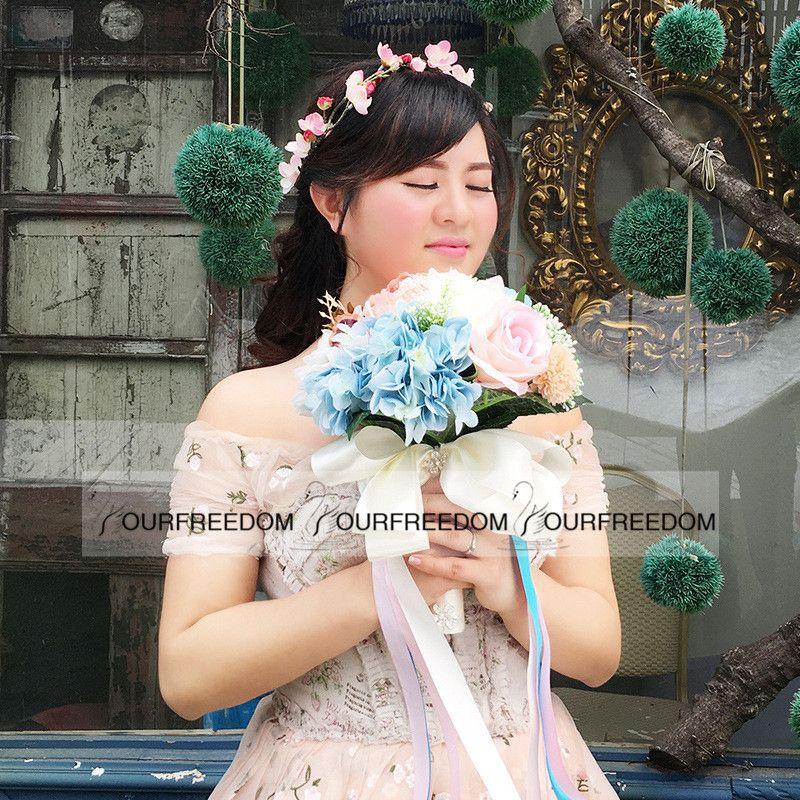 WF053 New Boho Beach Fleurs De Mariage Bouquet De Demoiselle D'honneur De Mariage De Soie Fleurs Vente Chaude D'été Pas Cher Décorations