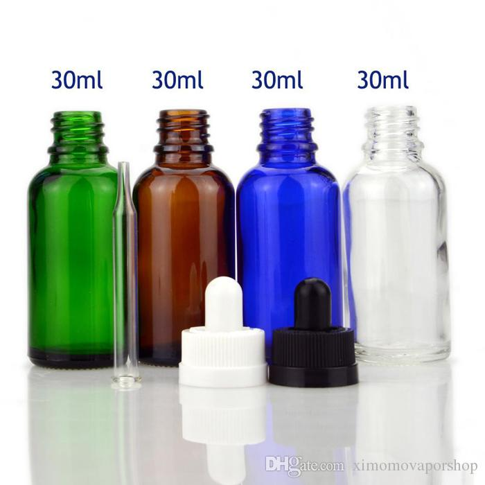 New Products 30ML Green Glass Bottles E-liquid Bottle With Glass Sharp Dropper Cap And childproof Safty Cap 30ml Glass Dropper Bottles