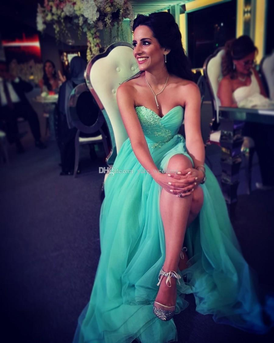 Elegant Mint Green Tulle Evening Dresses Sweetheart Pleated Appliques Side Split Evening Gowns Modest Prom Dresses Zipper Up