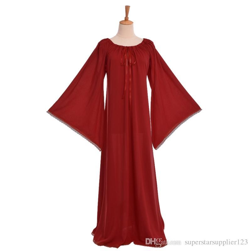 가운 슈 의류 나이트 가운이지웨어까지 중세 여성 드레스 빈티지 뻗 목선 플레어 슬리브 드레스 고딕 양식의 레이스