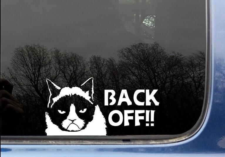 Funny grumpy cat back off funny tailgating tailgater car window wall phone funny die cut decal sticker car decal car sticker decal online with
