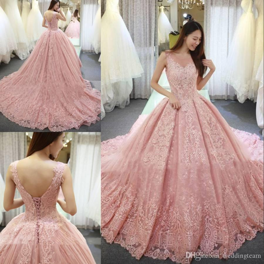 2018 Pink Lace Ball Gown Quinceanera Dresses Sheer Jewel Neckline ...