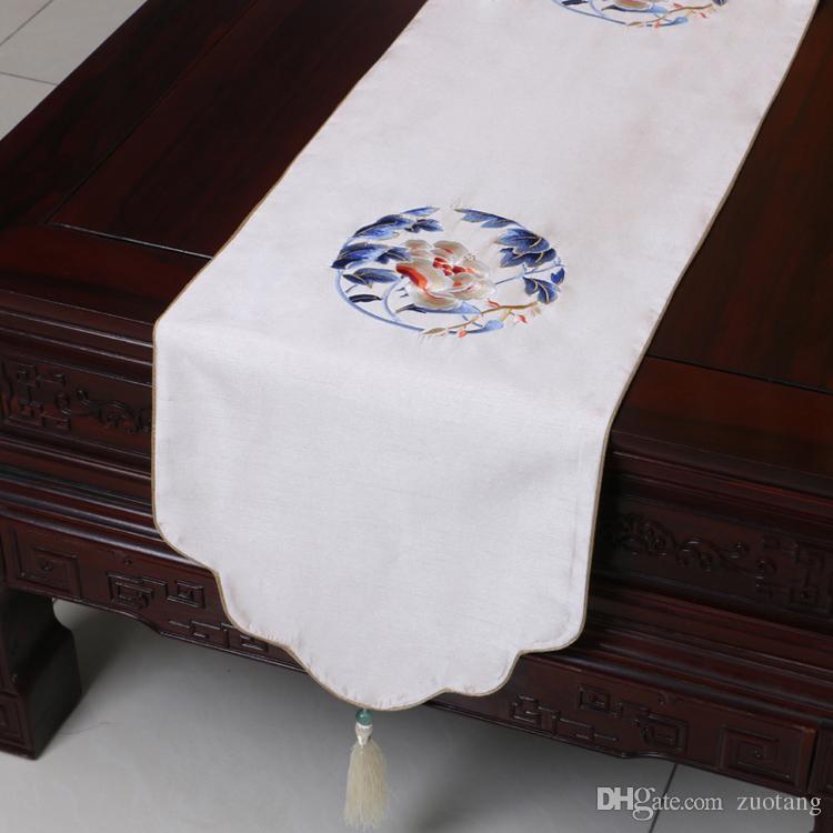 Corridore della Tabella della rappezzatura ricamata bene di lunghezza corta Corridore della Tabella di pranzare di stile cinese Proteggi i rilievi Tovaglia di caffè del broccato di seta 150x33 cm