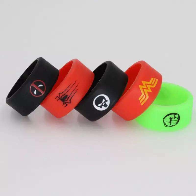 Silicon band vape spiderman deadpool the punisher colorful beauty ring for mechanical mods rba rda atomizer decorative protector rings