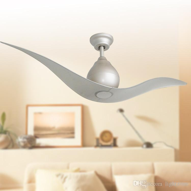 2018 Led Ceiling Fans Lights Contemporary Style 52 Inches 132 Cm Silver Color Two Blade Abs Remote Control Indoor 110v 240v From
