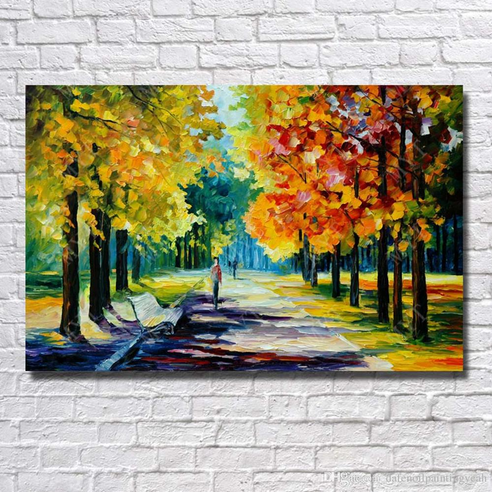 Hand Made Beautiful Tree Road landscape Oil Painting On Canvas Living Room Decoration Knife Painting Nice Decor Home