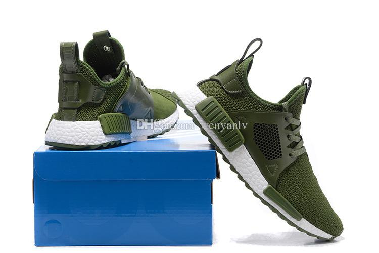 2018 With Box Olive Green Mens Nmd Running Shoes Originals Quality Ultra  Boost Shoes Sneakerboots Man Athletic Trainers Shoes 40 46 From Wenyanlv