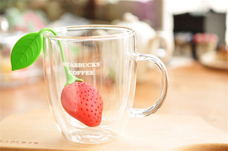 Новые силиконовые Drinkware аксессуары симпатичные Красный клубника стили чай ситечко чай инструменты Infuser фильтр B0454