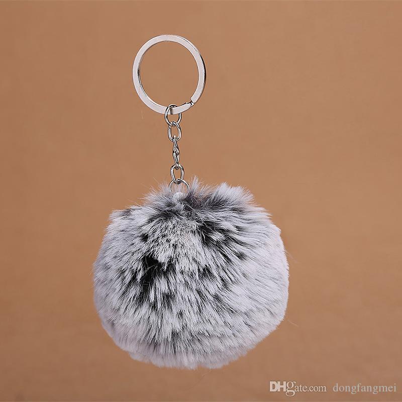 Two - color gradient hair ball key chain bag car pendant snowflake ball pendant KR361 Keychains a