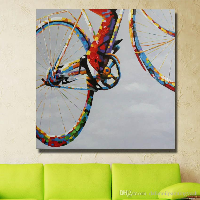 Wall Design Abstract Pictures on Canvas Home Decor Sitting Room Wall Pictures Modern Bicycle Oil Painting 1 Peices No framed