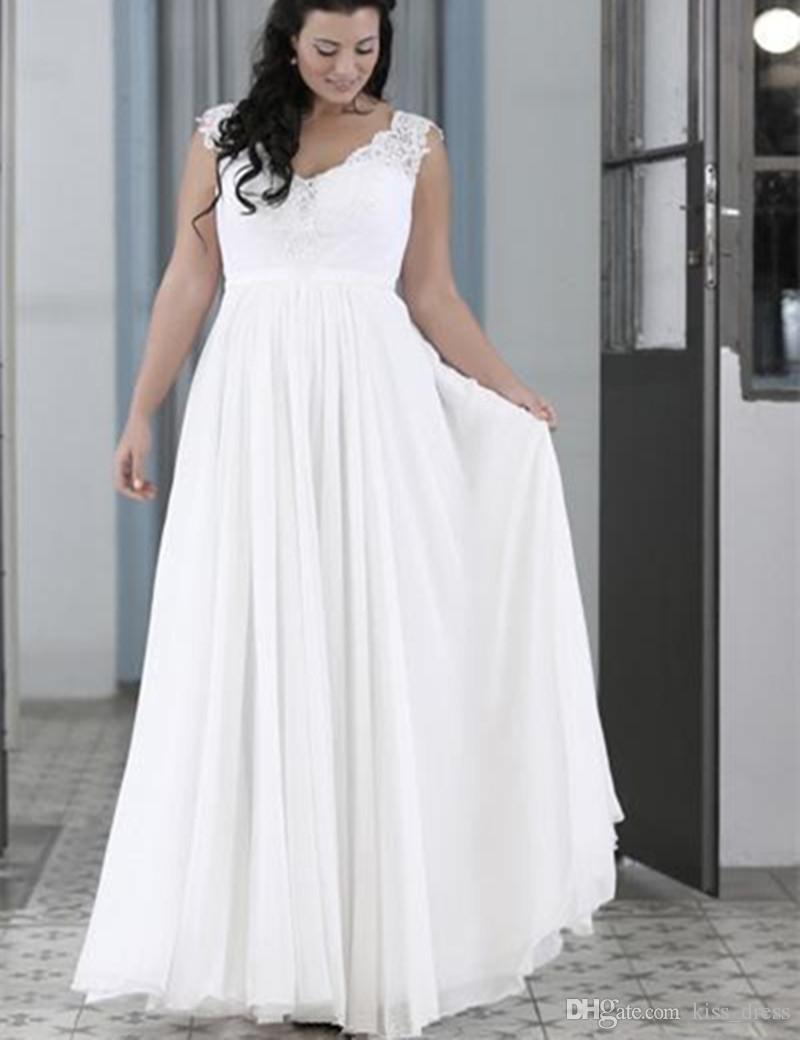 Nuovi eleganti abiti da sposa da spiaggia taglie forti scollo a V senza maniche in chiffon lunghezza del pavimento abiti da sposa formato personalizzato