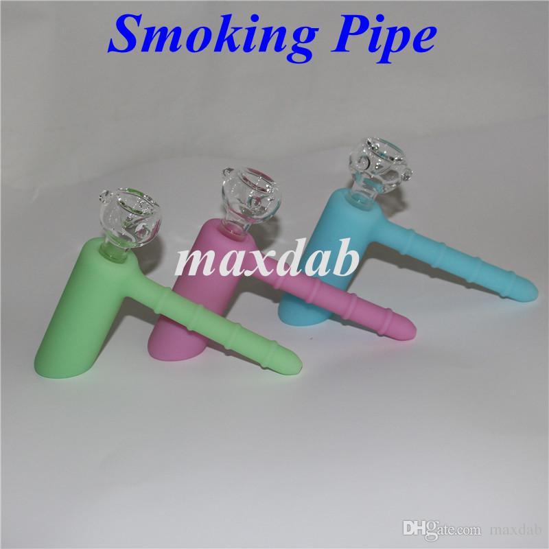 Luminescent dans l'obscurité Mini pipes à eau 18.8mm joint en silicone Marteau Percolateur Bubbler Fumer Tuyaux en silicone bang Recycler Narguilés