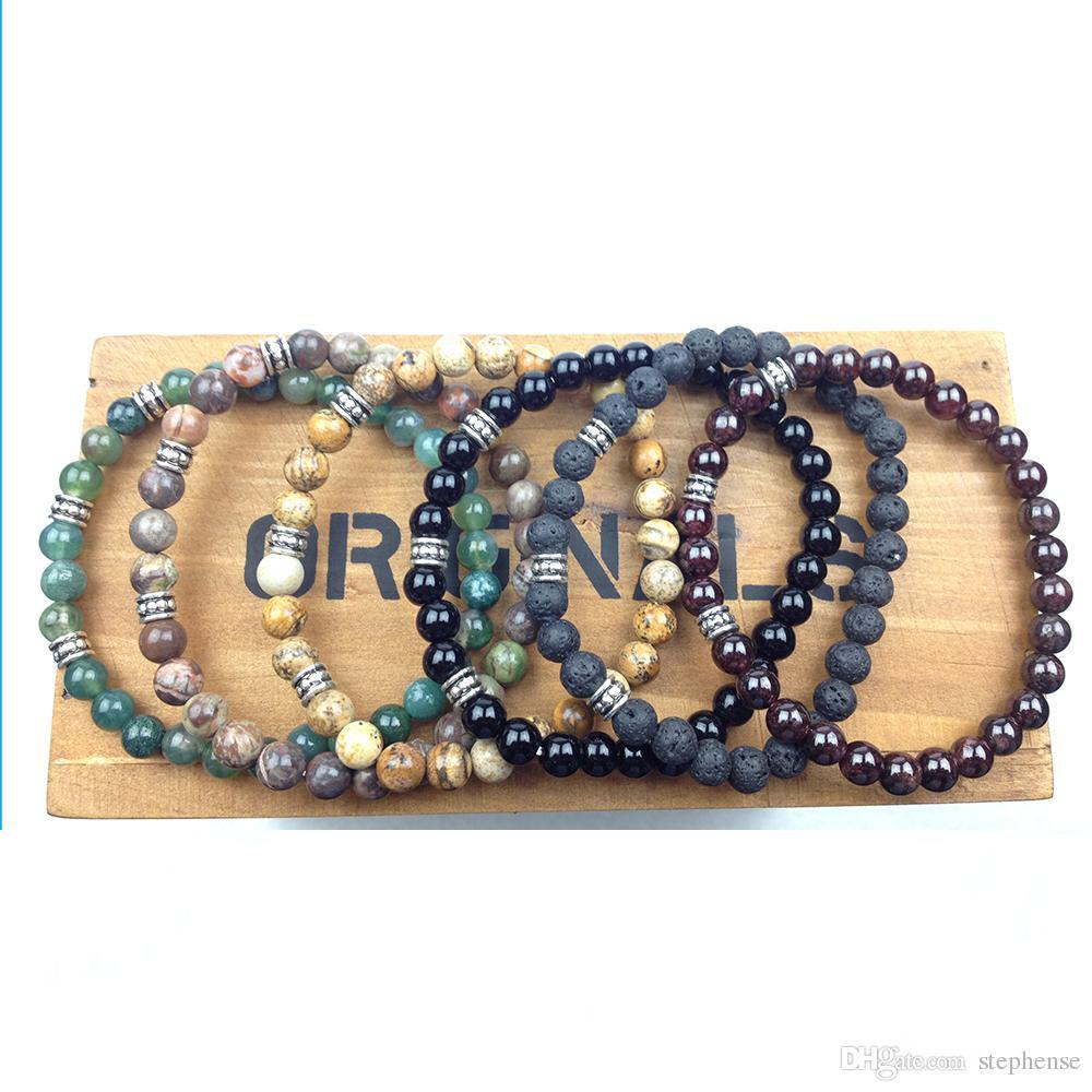 SN0619 Mann Yoga Armband 6mm Lava Jaspis Indien Achat Onyx Granat Nutal Stein Armband Glück Schmuck Wohlbefinden Balance Armband