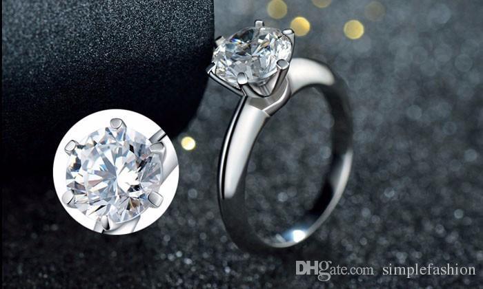 Vecalon Réel 925 Sterling Silver Rings Set 1.5 Carat CZ Diamant Argent Anneaux De Mariage pour les Femmes Argent Fine Jewelry