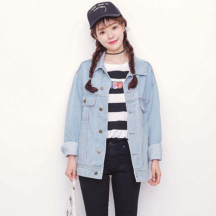 bdca3b558f5 Wholesale Bf Autumn Winter Korean Women Denim Jacket 2016 Vintage Harajuku  Oversize Loose Female Jeans Coat Solid Slim Chaquetas Mujer Straight Jackets  ...