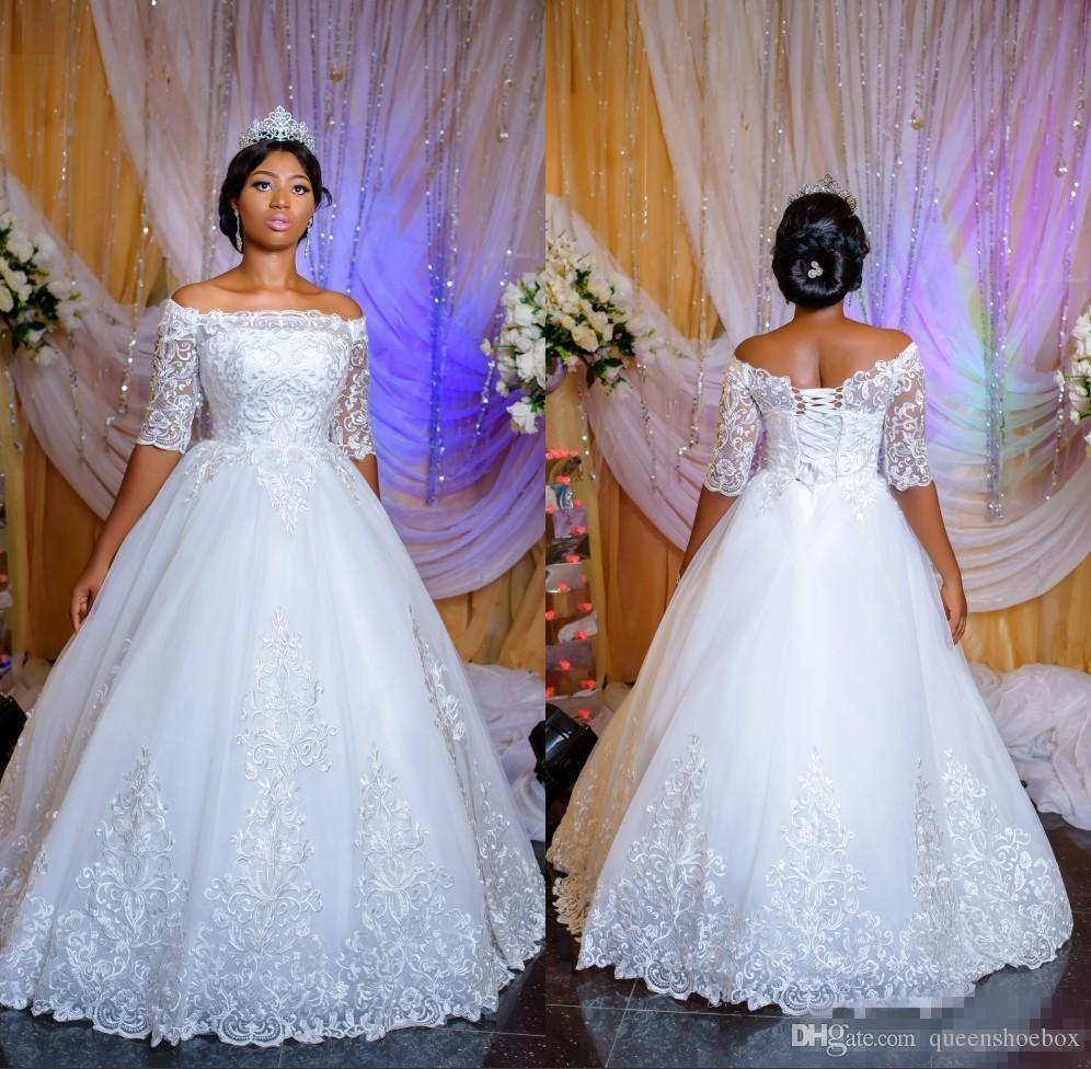Nigerian Traditional Wedding Dresses: Discount African Vintage Lace Wedding Dresses Plus Size