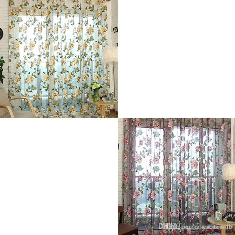 1 Pc Curtain And 1 Pc Tulle Peony Luxury Window Curtains: Voile Door Curtain Window Room Drape Panel Floral Peony