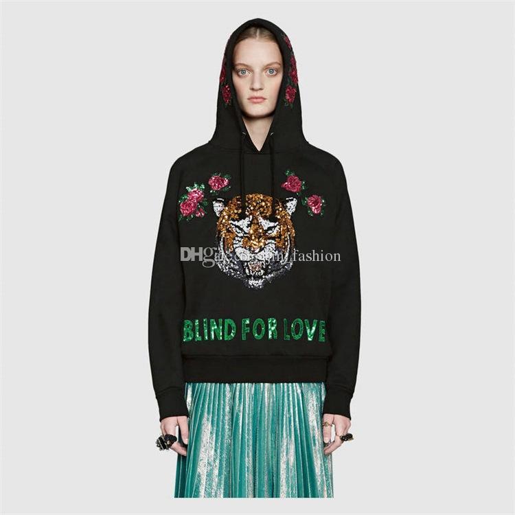 Chaude Européenne Marque Tigre Tête Brodé Hommes Femmes Sweats Coton Automne Hiver Unisexe Hoodies Casual Streetwear Jogger Survêtement