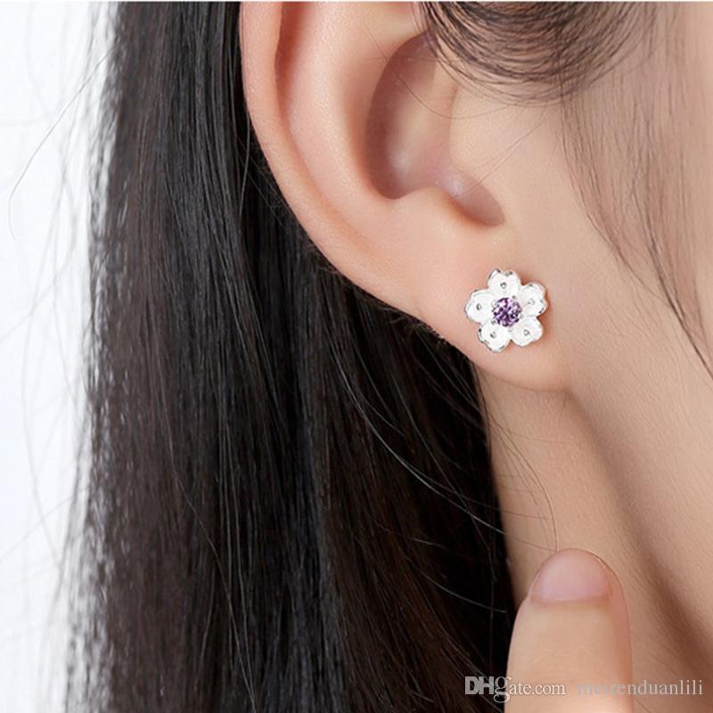 Romantic Cherry Flower Stud Earrings 925 Sterling Silver Plated Earrings Fashion Jewelry For Women Cheap Purple Pink Color