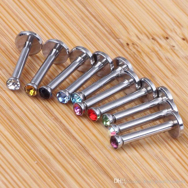 100 stks Intern Thread Labret Lip Chin Ring Monroe Bar Tragus Bars 1.2x6 / 8 / 10x2mm Neus Wenkbrauw Lichaam Sieraden