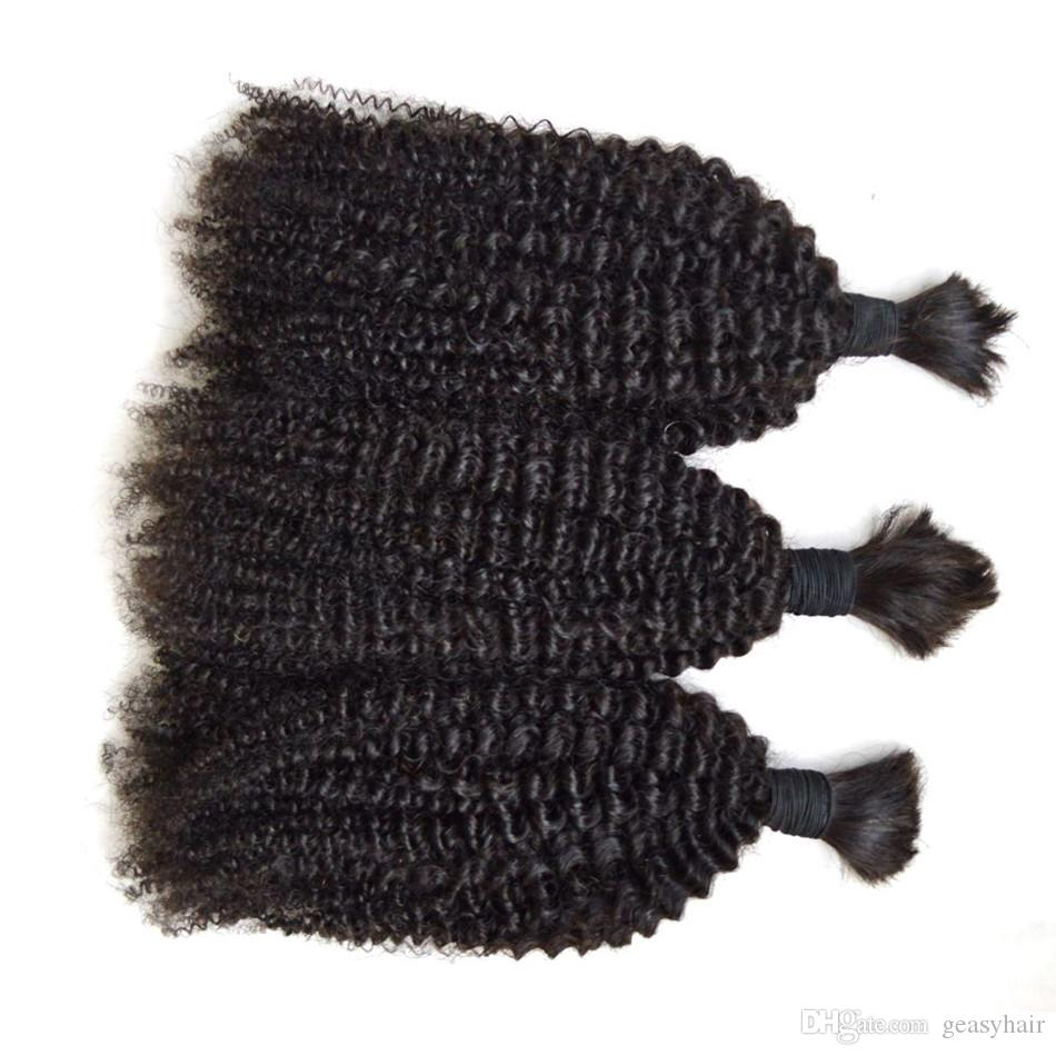 Human hair bulk for braiding no weft no attachment mongolian afro kinky curly hair human braiding hair bulk 8-30inch G-EASY