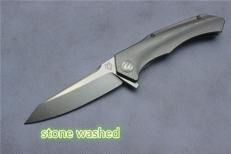 Wysokiej jakości nóż Vespa, ostrze: S35VN kamień myjnia / satyna, uchwyt: TC4 Plane łożysko na zewnątrz Camping Folding Nóż EDC, Darmowa wysyłka