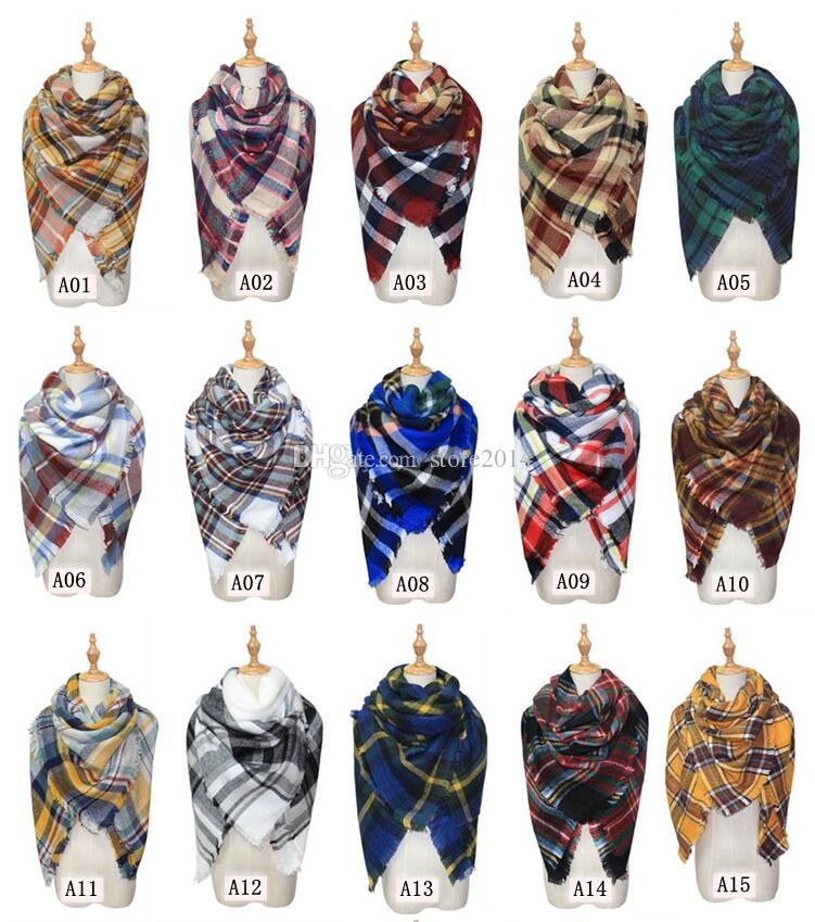 Mode Plaid Decke Schal Frauen Tartan Quasten Schal Grid Schal Wrap Lattice Halstuch Cashmere Schalldämpfer Mode Winter Check Pashmina