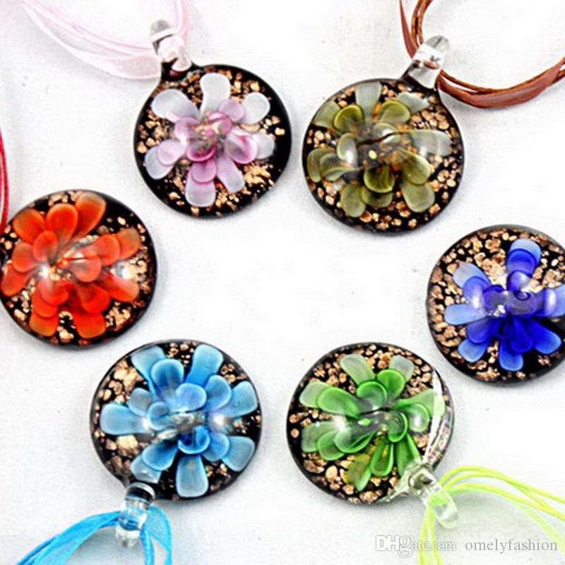 Well-liked Wholesale Clear Dichroic Glitter Glass Pendants Necklace Fashion  IO59