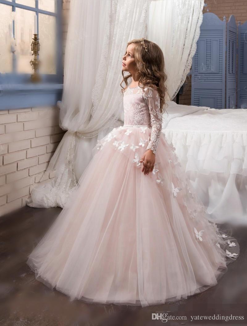 Elfenbein weiße Blumenmädchenkleider Juwel mit langen Ärmeln mit Schmetterling Applique Pageant Kleider zurück Zipper Tiered Ruffle Nach Maß Partykleid