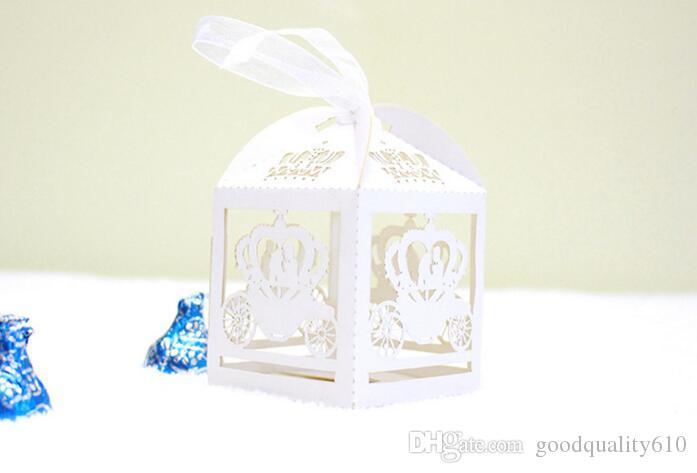 Laser Cut Hollow Float Candy Box Chocolates Boxes With Ribbon For Wedding Party Baby Shower Favor Gift