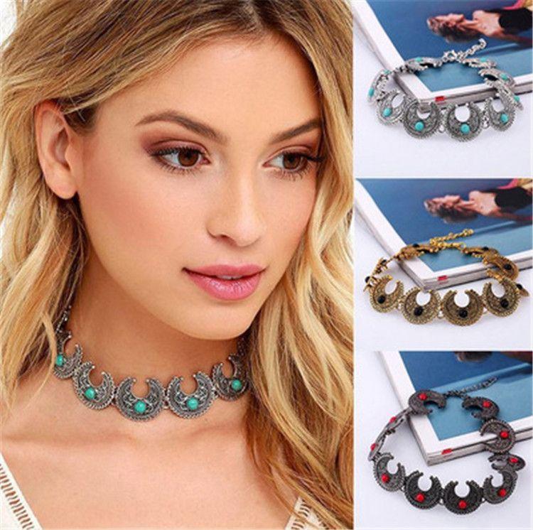 Böhmen-Art-Mond-Entwurfs-Grün-Steinchoker-Halskette Weinlese-schnitzende Blumen-Punk übertriebene antike silberne Halsketten-Fabrik-Großverkauf