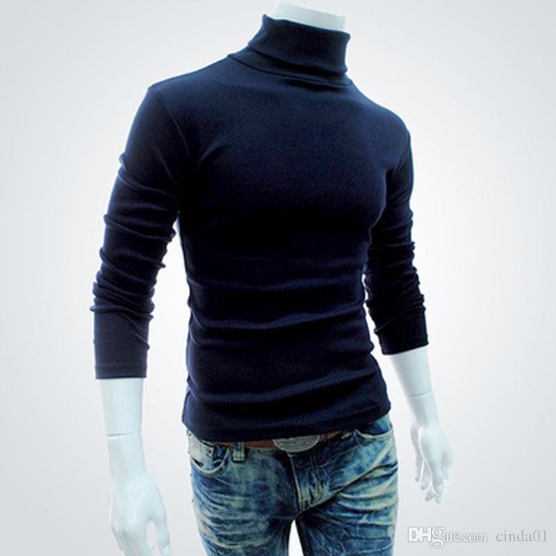 Hommes Bas Tops Automne Slim Pulls Automne Chaud Col Roulé Pulls Noir Pulls Vêtements Pour Homme Coton Tricoté Chandail Mâle Pulls