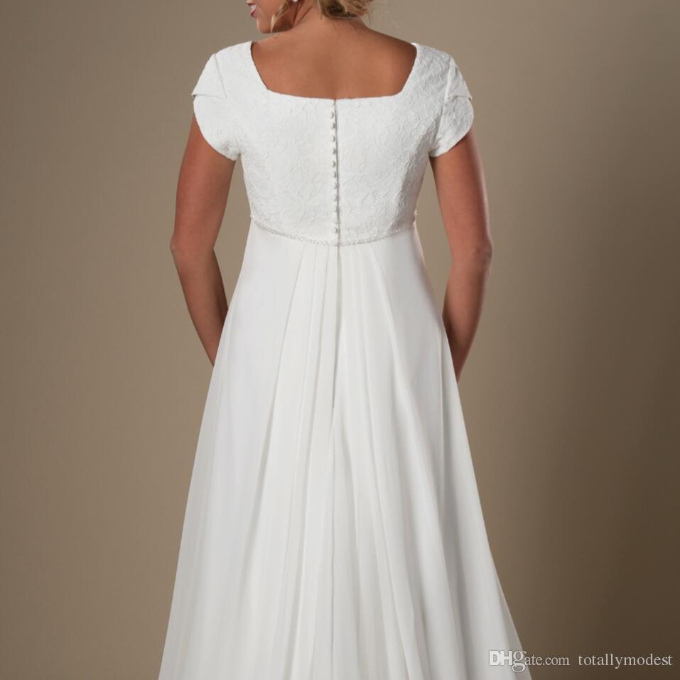 비공식 아이보리 레이스 시폰 해변 모자 슬리브 A 라인 사원 신부 가운 바닥 길이 웨딩 드레스 새로운 웨딩 드레스