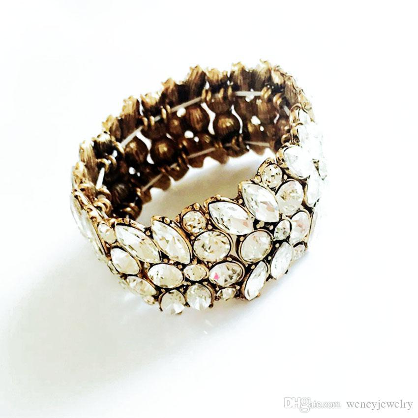 Растянутые браслеты, хрустальный стеклянный камень выступление мода браслет элегантные роскошные браслеты для женщин аксессуары античные золотые украшения