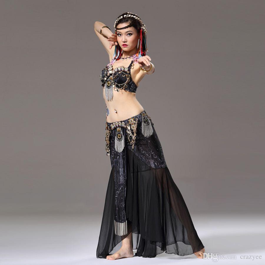 a7b16b50f 2019 Stage   Dance Wear Tribal Belly Dance Outfit Coin Bra Chiffon ...