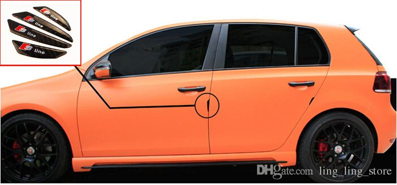 4 teile / satz Kohlefaser Auto Türschutz Tür Seitenkantenschutz Wachen Aufkleber Für AUDI A1 A3 A4 A6 Q3 Q5 Q7 Auto Styling