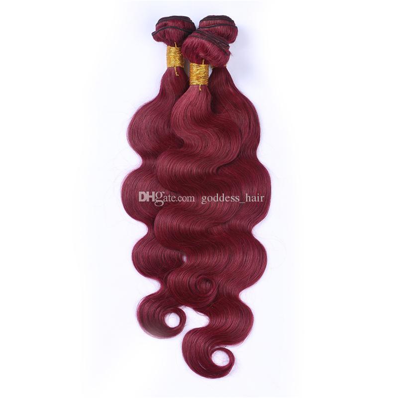 Paquetes de cabello de onda corporal de Borgoña brasileña de grado 9A 3 piezas / lote # 99J El cabello humano de onda corporal teje la extensión de cabello de color rojo vino para mujer