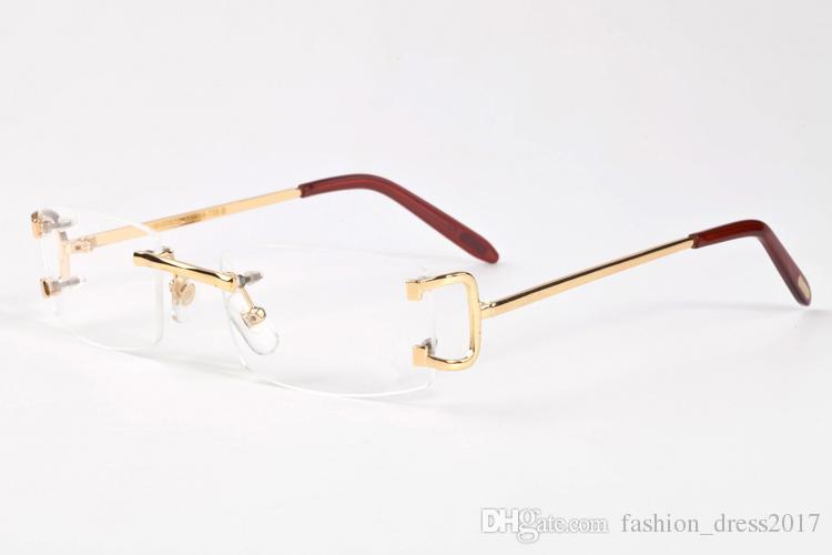 neue Art und Weise Sport-Sonnenbrille für Männer quadratischen klare Linse Büffelhornbrille Randlosbrille überdimensionaler Vintage Gold-Silber-Metall-Sonnenbrille