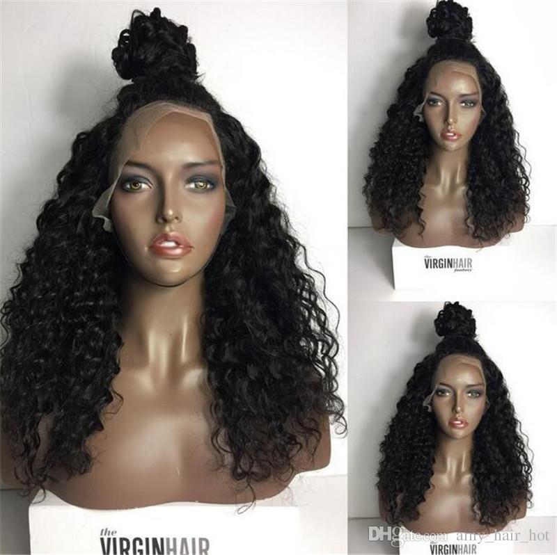 Peluca humana del cordón del frente del pelo de la Virgen brasileña Pelo rizado sin procesar rizado del frente del cordón para las mujeres negras Pelucas del cabello humano grandes de la acción