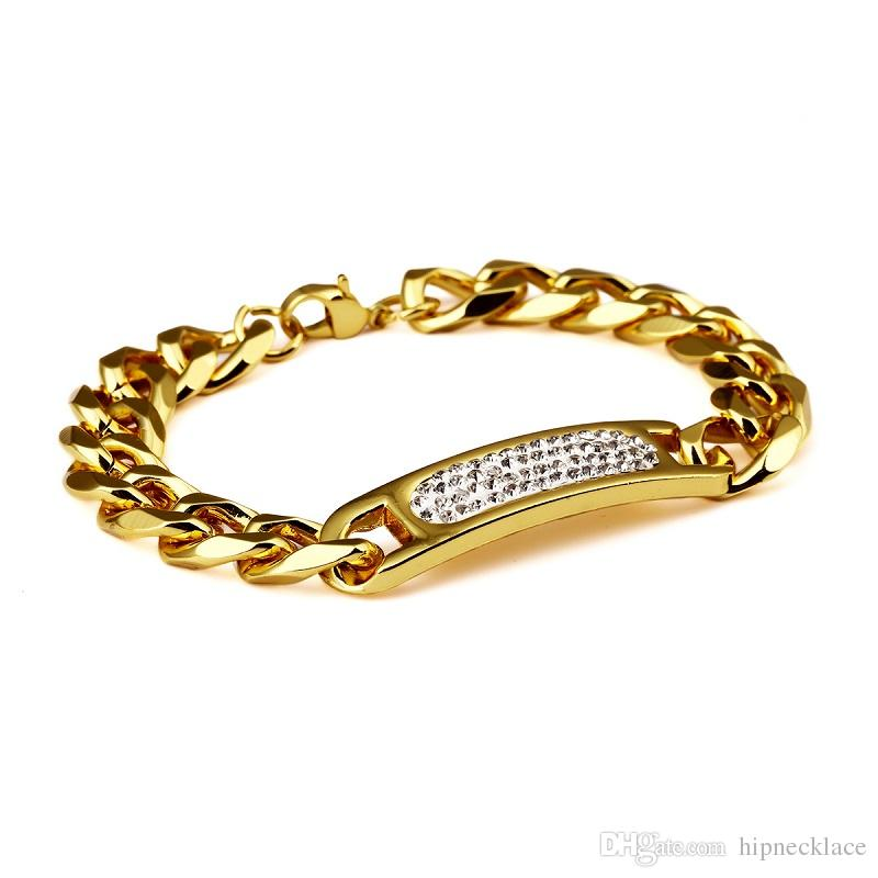 d4dba3dcb6d 2019 Fashion Mens Hip Hop Cool Gold Cuban Bracelets For Men Rhinestone  Crystal Design 18K Gold Plated Chain Jewelry Men Cuff Bracelet From  Hipnecklace