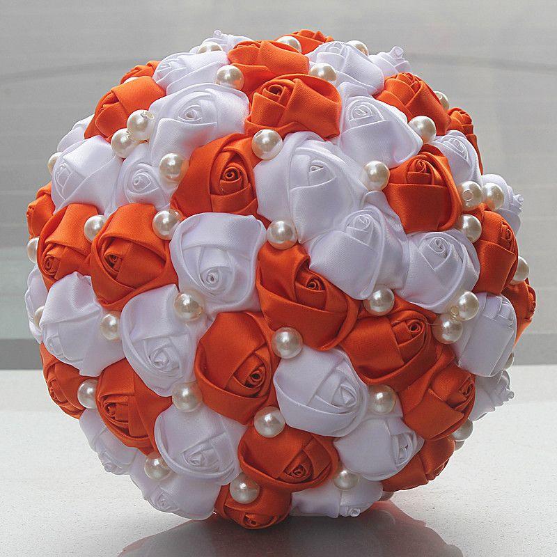Großhandel Orange Weiße Rosen Blumen Perlen Korn Brauthochzeits ...