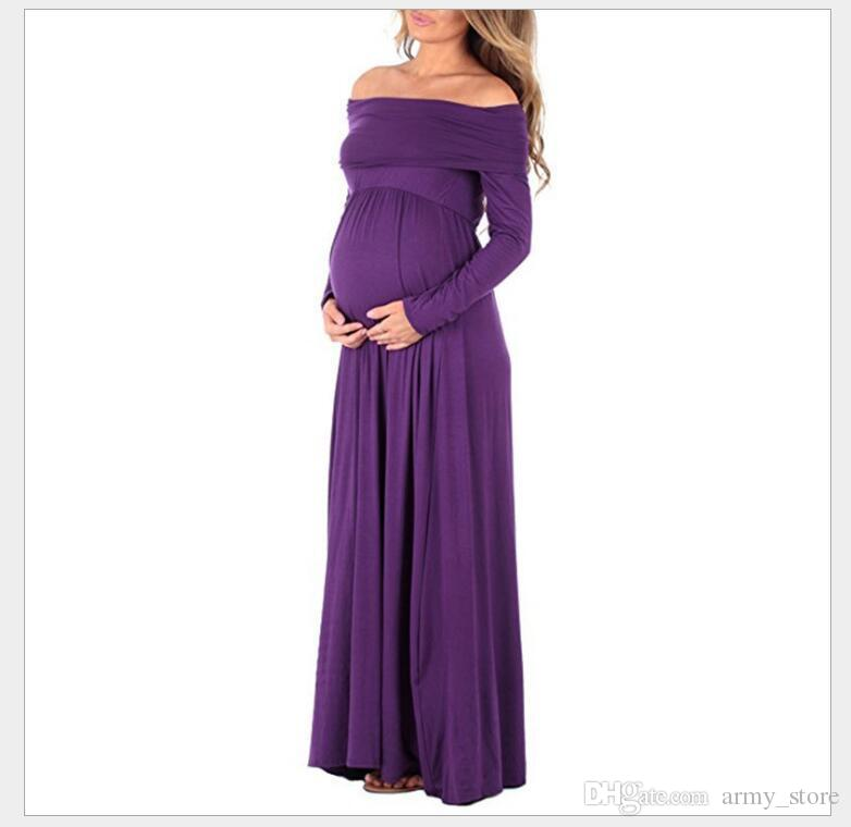 Long Maternity Dresses Cowl Neck Pregnants Photography Props Off ...