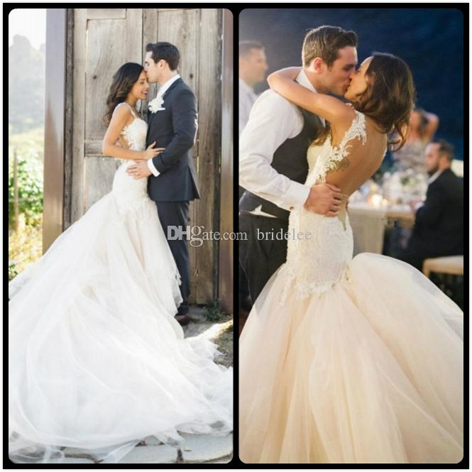 eb96d5b02267 Sexy Mermaid Vestido De Noiva Lace Wedding Dresses Backless Long Sweep  Train Bride Dress Spaghetti Straps Bridal Gowns With Veil Mermaid Wedding  Dresses ...