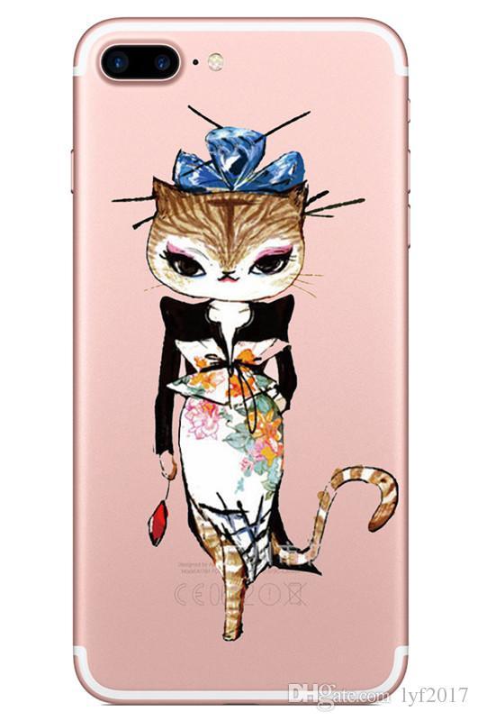 Accessori telefoni cellulari Custodie 2018 Idee di moda gatti dipinti cartoni animati Custodia stampa Custodia Defender iPhone 5S 6 6s plus 7 7Plus