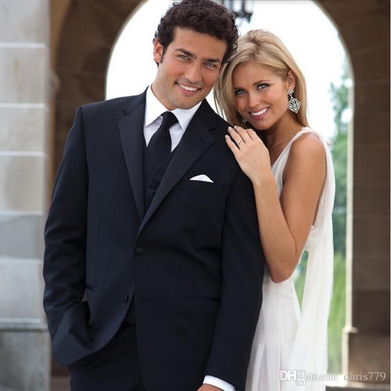 Custom made homens ternos clássicos preto de alta qualidade homens casamento terno smoking ternos smoking ternos de baile jaqueta + colete + calça