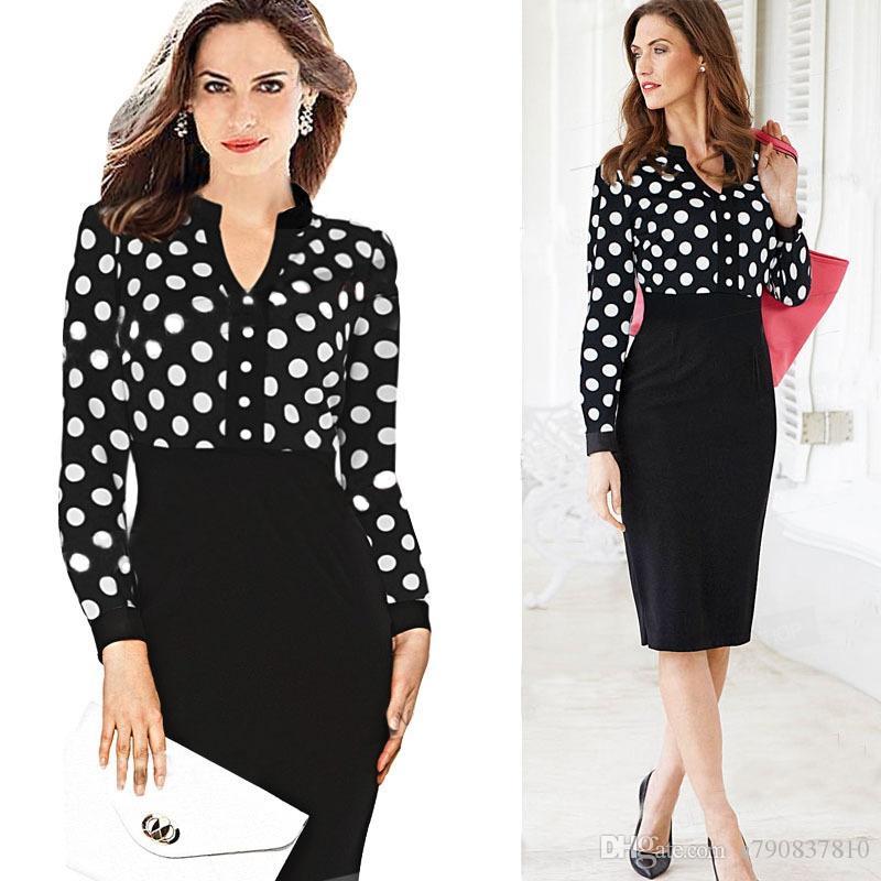 Womens Herbst Long Sleeves Elegant Vintage Slim Wear zu arbeiten Büro Business Casual Mantel Bodycon Pencil Dress modische Blei Kleider 239
