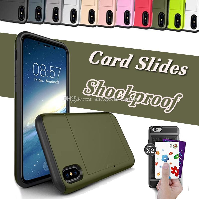 Slot Card Slot Wallet Case PC híbrido Soft TPU Thin Armor doble capa protectora cubierta para iPhone X 8 7 Plus 6 6S Samsung Nota 8 S8 S7 Edge