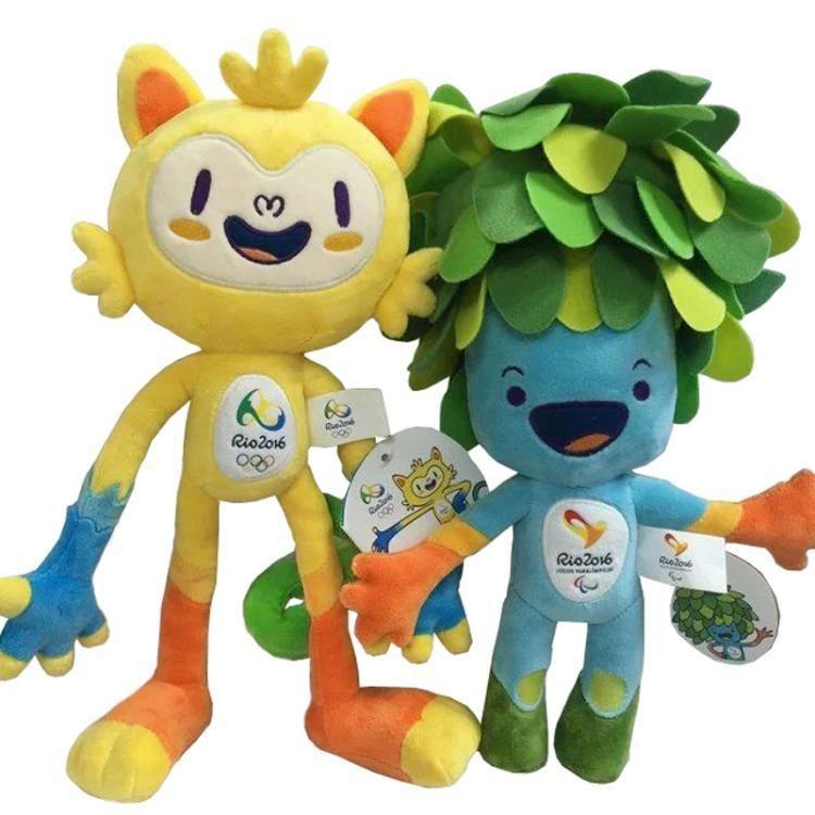 2016 Custom Made Brezilya Rio de Janeiro Olimpiyat Oyunları Maskot Vinicius ve Tom Peluş Oyuncak Ücretsiz Kargo